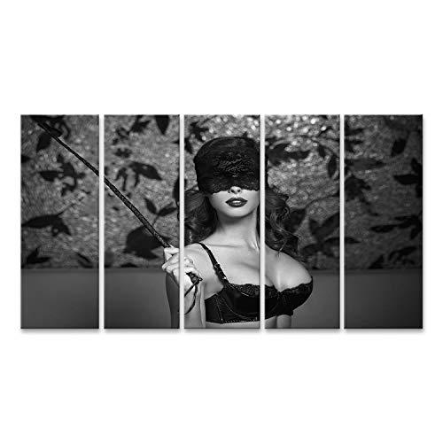 islandburner Cuadro en Lienzo Sexy Parche de Encaje Mujer sosteniendo un látigo Negro Blanco Cuadros Modernos Decoracion Impresión Salon
