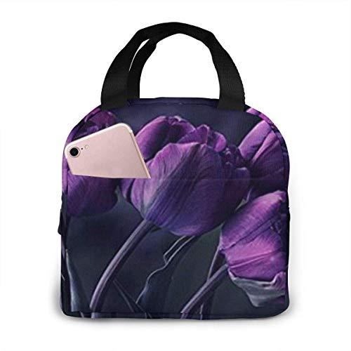 Hdadwy Bolsa de almuerzo portátil con flores de tulipán de color morado oscuro, fácil de limpiar, resistente al agua, enfriador de almuerzo, con aislamiento, para viajes/picnic/trabajo Tamaño: 8.5