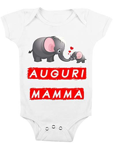t-shirteria Body para bebé con texto en inglés «Auguri Mamma - Body para madre - Idea regalo para madre blanco 0-6 Meses