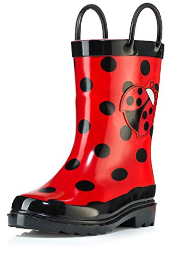 Little Girl's Red Ladybug Rubber Rain Boots - Size 9 toddler