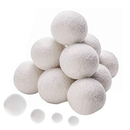 WWahuayuan Wool Dryer Balls 100% New Zealand Wool Reusable Umble Dryer Balls Natural Fabric Softener,Softens and Fluffs Your Clothes - 6 Pcs 5cm