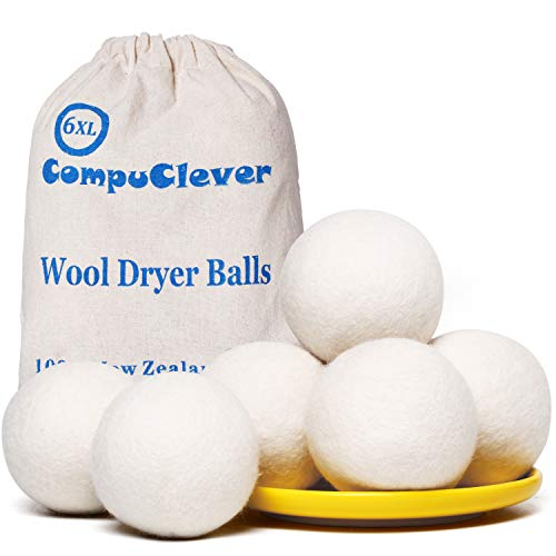 Wool Dryer Balls Organic XL 6-Pack Natural Fabric Softener Laundry Dryer Ball 100% New Zealand Fabric Softener for 1000+ Loads Baby& Hypoallergenic (A (6XL White))