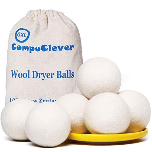 Wool Dryer Balls 6-Pack XL Laundry Dryer Balls Reusable Natural Fabric...