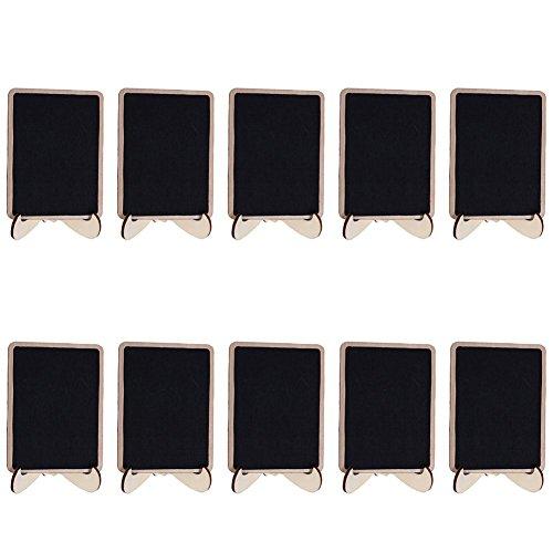 Bodhi2000 10 pcs Mini Tableaux Signes ardoises rectangle Message Board avec support pour mariage, travaux manuels, jardin,