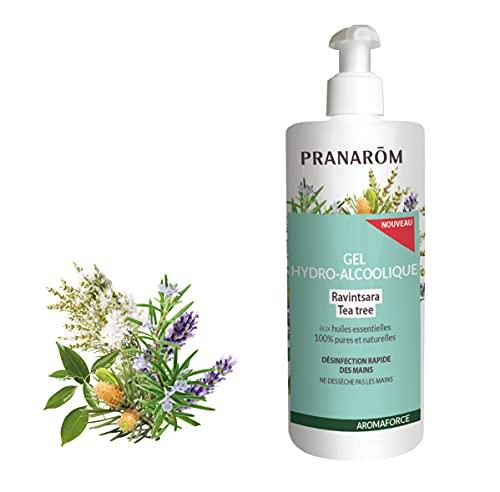 Pranarôm Gel Hydro Alcoolique aux Huiles Essentielles de Ravintsara/Tea Tree/Romarin/Lavandin 500 ml