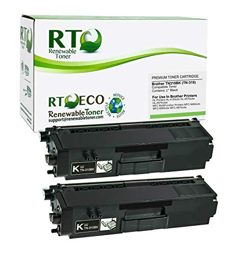 Renewable Toner Compatible Toner Cartridge Replacement for Brother TN315 TN-315 TN315BK TN-315BK MFC-9970 9560 9460 HL-4150 4570 (Black, 2-Pack)