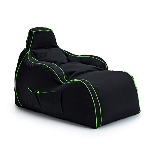 Game Over Video Gaming Bean Bag Lounger Chair | Indoor Living Room | Side Pockets for Controllers | Headset Holder | Ergonomic Design for Relaxed Gamer (Fel Magic)