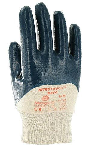 Ansell Nitrotough N630 Gants oléofuges, protection mécanique, Bleu, Taille 10 (Sachet de 12 paires)