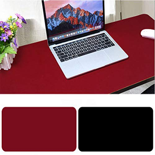 Alfombrilla para Ratón,900 x400x2mm Ultra fino Antideslizante e impermeable alfombrilla para escritorio del cuero de PU Super-Portátil Alfombrilla con Doble cara (Negro+Rojo)