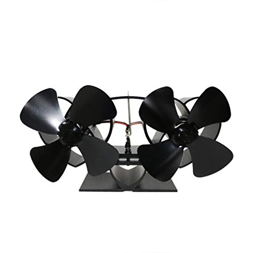 YL301 Thermal Power Openhaardventilator Warmte aangedreven houtkachelventilator Vierbladige ventilatoren Zwart
