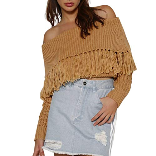 Fantastic Prices! Hurrybuy Womens Sexy Off The Shoulder Long Sleeve Slim Fit Fringe Knit Crop Sweate...