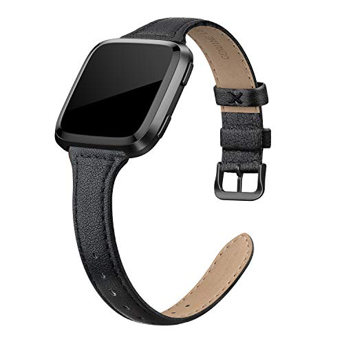 "SWEES Leather Bands Compatible with Fitbit Versa 2 / Fitbit Versa Lite & SE/Fitbit Versa, Slim Thin Genuine Leather Replacement Strap for Versa Women (5.5"" - 7.9""), Black, Champagne, Rose Gold, Tan"