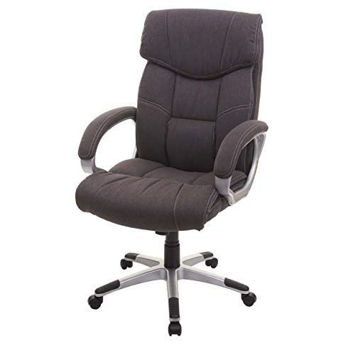 Mendler Bürostuhl HWC-A71, Chefsessel Drehstuhl Schreibtischstuhl, Stoff/Textil - dunkelgrau