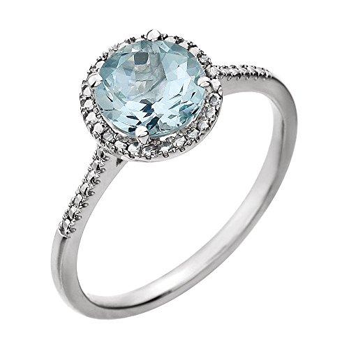 JewelryWeb - Anillo de plata de ley con diseño de aguamarina facetada .01 DWT diamante, talla M 1/2