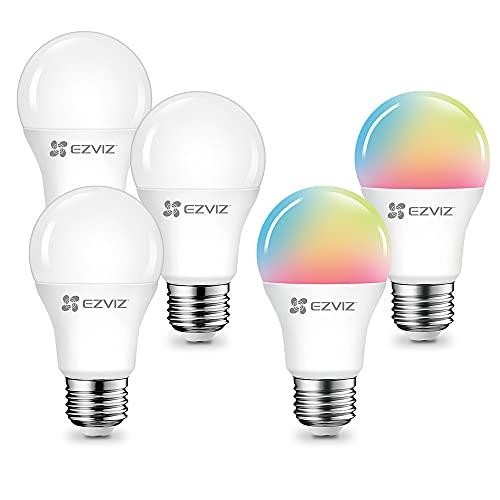 Hinnovation Kit di 5 Lampadine Smart Ezviz, 3 LB1 Bianco, 2 LB1 Colorata, E27, Compatibili con Alexa e Google Assistance, Controllabili con App, Bianco