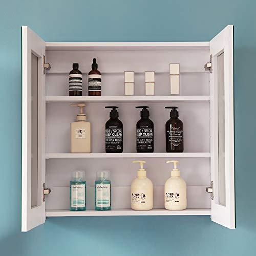 AICA Spiegelschrank Weiß 60 cm breit Wandspiegel Hängeschrank mit DREI Schichte 2