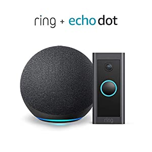 Ring Video Doorbell Wired bundle with Echo Dot (Gen 4) - Black