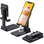 Anozer Foldable Cell Phone Stand, [2020 Updated] Angle & Height Adjustable Desk Phone Holder with Stable Anti-Slip Design Compatible with Smartphones/iPad Mini/Nintendo Switch/Kindle (Black)