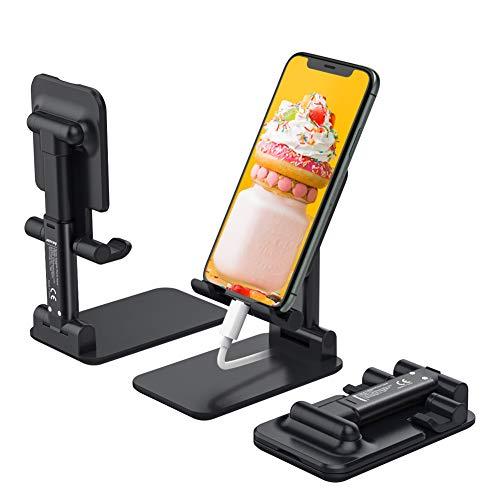 Anozer Handy Ständer faltbar, höhenverstellbar Tisch Handyhalterung Zuhause, Universal Smartphone Ständer Multiwinkel, Schreibtisch Handy Halterung für z.B. Samsung Galaxy/iPhone 11/Google Pixel/usw.