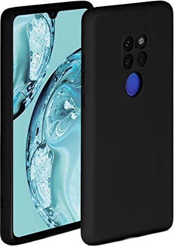 ONEFLOW Soft Case kompatibel mit Huawei Mate 20 Hülle aus Silikon, erhöhte Kante für Bildschirmschutz, zweilagig, weiche Handyhülle - matt Schwarz