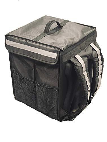 Thermal Insulated Food Delivery Biker Backpack High Grade, Ergonomic Padding, Reflectors, Side Pocket For Receipts, Reusable Cooler Bag for Doordash, Uber, Postmates, Instacart, Camping, Beach, Groceries, Weather-Resistant