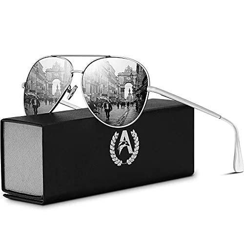 VVA VVA Sonnenbrille Herren Pilotenbrille Polarisiert Pilotenbrille Polarisierte Sonnenbrille Herren Pilot Unisex UV400 Schutz durch V101(Silber/Silber)