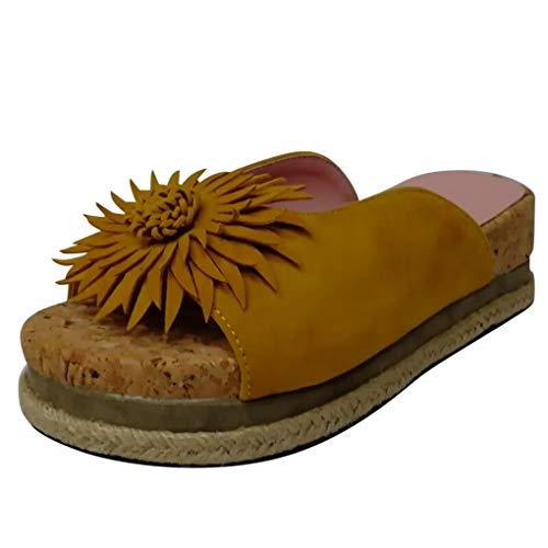 Dorical Damen Roman Slippers Espadrilles Frauen Daisy Übergrößen Flandell Wedge Peep-Toe Hausschuhe Comfort Schuhe Für Casual Strand Outdoor Garten(Z01-Gelb,40 EU)