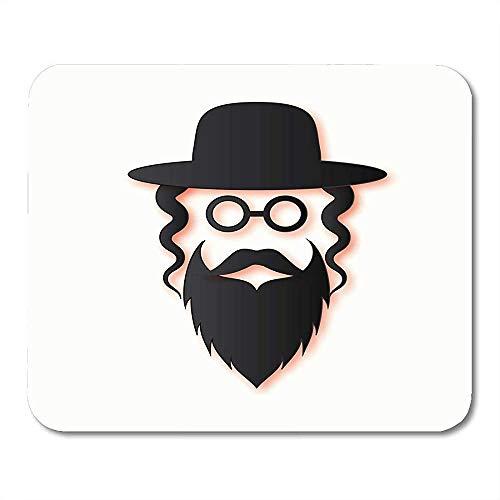 25X30CM Hommes juifs dans Le Chapeau de juif orthodoxe Traditionnel Moustache Lunettes Sidelocks et Barbe Homme Israël Personnes Tapis de Souris
