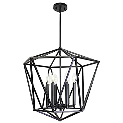 VINLUZ Industrial Modern Chandeliers 6 Light Dining Room Lighting Fixtures Hanging Black Classical Lantern Geometric Pendant Light, Farmhouse Lighting Ceiling for Kitchen Island Entryway Foyer