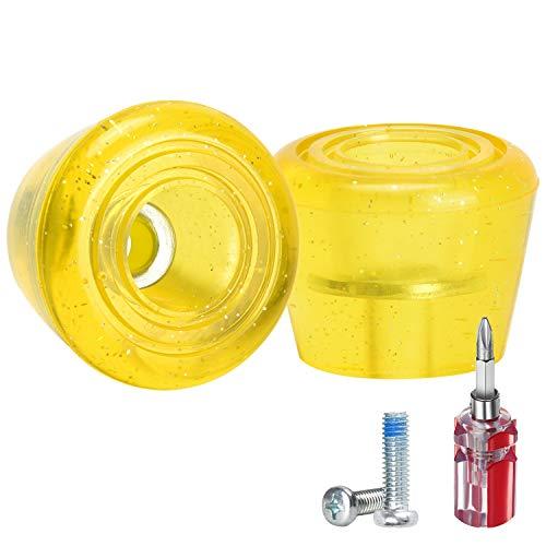 TOBWOLF 1 par de tapones de punta de patín de poliuretano con tornillos y destornillador, 82A Roller Quad patines, tapones de freno de doble fila para patines – amarillo
