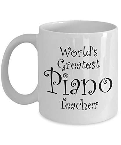 Piano Teacher Gift Mug - Men, Women, Coworkers - Coffee Mugs for Piano Teachers - Perfect for End of Year Gift Idea, Christmas, Retirement - 11 oz Tea Cup