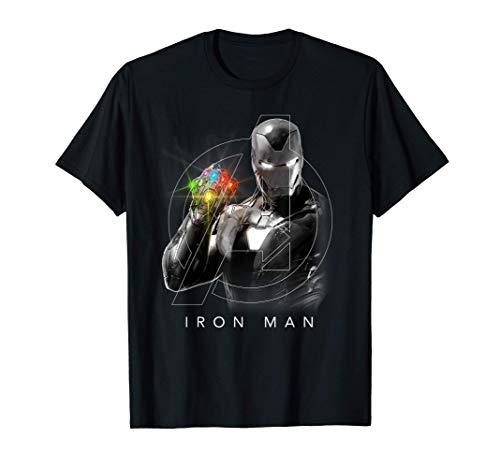 Marvel Avengers Endgame Glowing Stones Logo Overlay Portrait T-Shirt