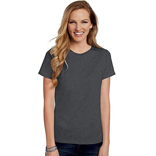Hanes Women's Relaxed Fit Jersey ComfortSoft Crewneck T-Shirt Charcoal Heather