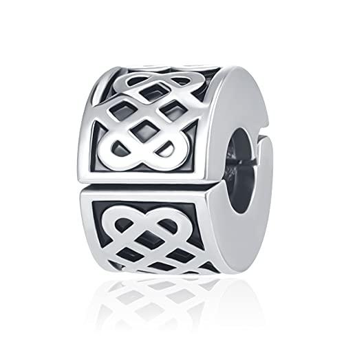 LuxglitterLin Celtic Love Knot Clip Spacer Charm Good Luck Irish Lock Stopper Bead for Pandora Bracelet
