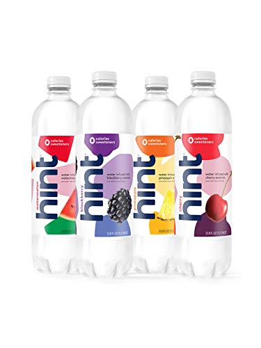 Hint Water Best Sellers Pack (Pack of 12), 1 Liter Bottles, 3 Bottles Each of: Watermelon, Blackberry, Cherry, and Pineapple, Zero Calories, Zero Sugar, Zero Sweeteners