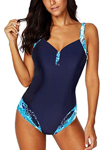 AOQUSSQOA Damen Einteileger Badeanzug Große Größe Bademode Figurformend Bauchweg Bikini Leopardenmuster Strandmode (NNavyBlue, XXL)