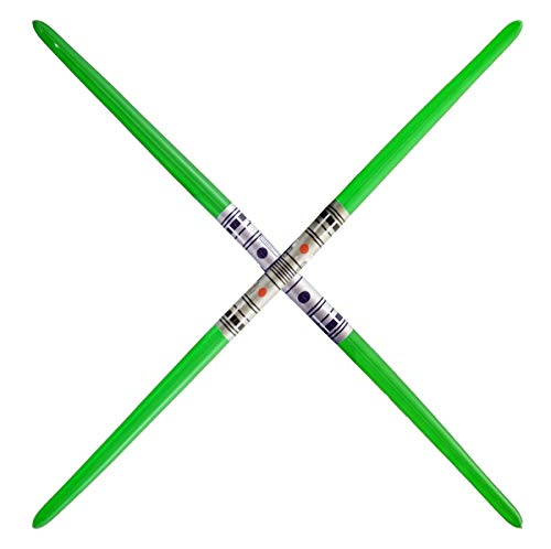 2 Premium - 2-Blade Green Inflatable Light Saber Swords, Lightsaber, Party, Gift, Action Play, (Green 2-Blade)