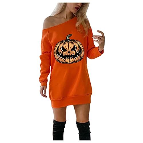 NISOWE Vestido para mujer, informal, con hombros fríos, con estampado de calabaza, para Halloween y fiestas, amarillo, XL