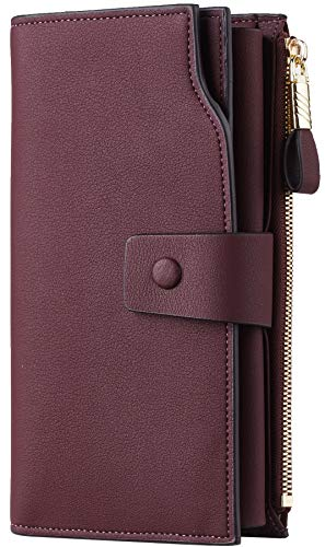 Travelambo Womens RFID Blocking Large Capacity Luxury Waxed Genuine Leather Clutch Wallet Multi Card Organizer (ReNapa Red Wine)