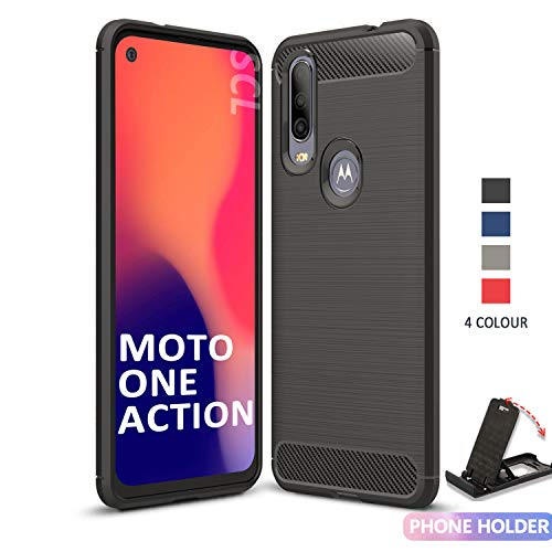 SCL Hülle Für Moto One Action Hülle Motorola One Action, Handyhülle Exquisite Serie-Carbon Design Schutzhülle mit Anti-Kratzer & Anti-Stoß Absorbtion Technologie für Motorola One Action Schwarz