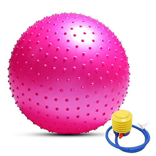 TOMSHOO - Palla da yoga anti-scoppio, elevata stabilità, per pilates, fitness, ginnastica, 55 cm/65 cm/75 cm, pompa ad aria in omaggio, Colore: rosa., 75 cm