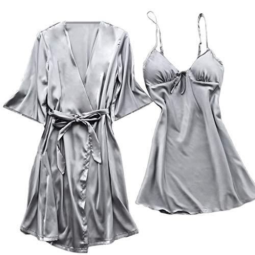 SomeTeam Frauen Unterwäsche Simulation Seide Nachthemd Nachthemd Set Frauen Fleck Spitze Seide Dessous Nachthemd Robe Pyjamas Bademantel Nachtwäsche Set