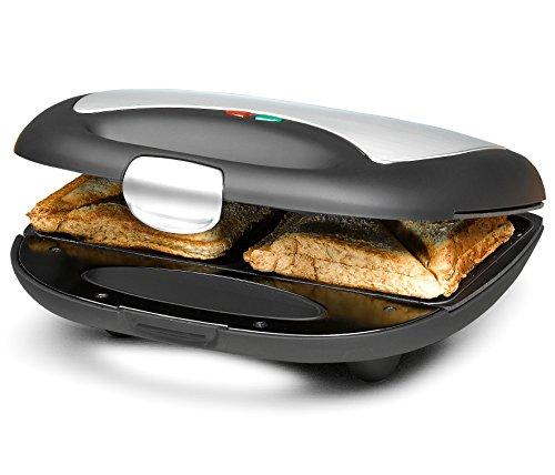 ROMMELSBACHER Sandwich Maker ST 710 - für 2 Sandwiches, 2-Lagen Antihaftbeschichtung, schnelles Aufheizen, wärmeisolierter Handgriff, platzsparende Aufbewahrung, schwarz/Edelstahl