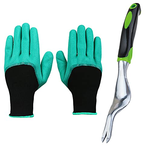 3-Piece Weed Puller Tool & Gardening Gloves, Stainless Weed Removal Tool Ergonomic Handle Hand Weeder Tool, for Transplanting or Clearing Gardens and Lawns Grandpas Weeder Garden Gloves Thorn Proof