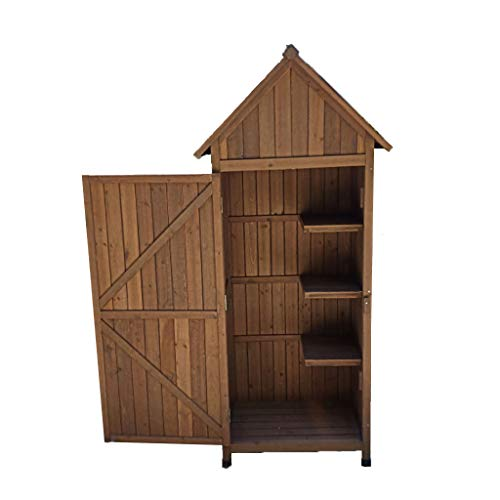 QILIN Outdoor Storage Shed, Solid Wood Tool Shed, Wooden Garden Storage Shed, Sunscreen/Waterproof/Anticorrosive, 770×545×1790MM (Cyan/Carbonized Color/Wood Color)