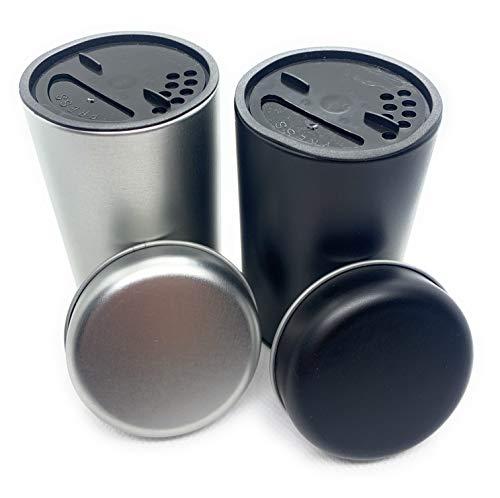 Premium Salz & Pfefferstreuer Set Silber + schwarz 5,4 x 9cm - Gewürzdose mit Aromadeckel - Aufbewahrung von Gewürzen mit Streuer