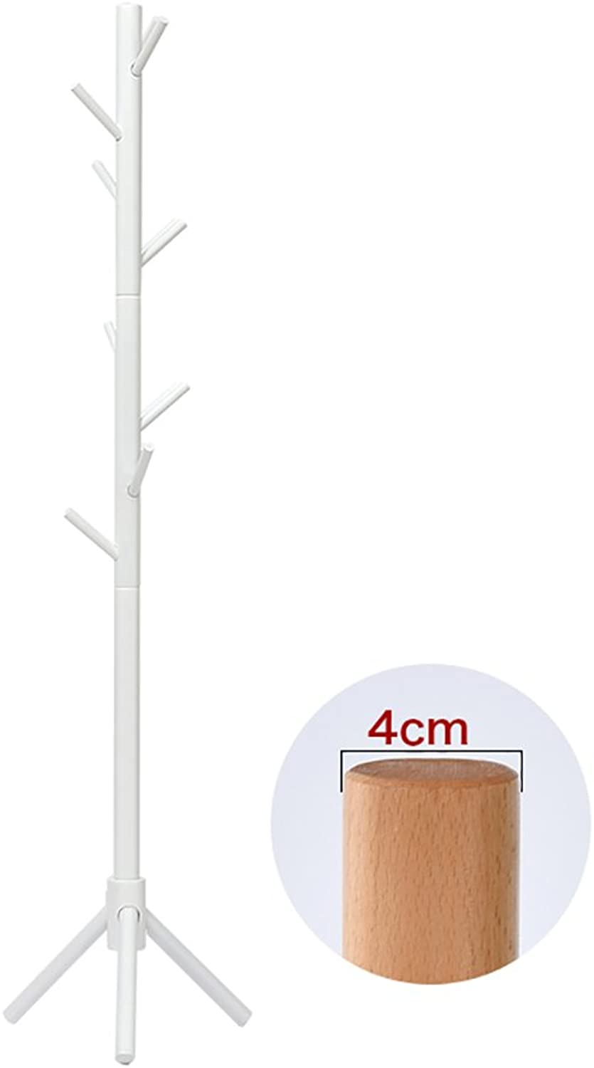 LFF- Solid Wood Coat Rack Simple Modern Floor Hanger Simple Single-Pole Clothes Rack Original color Walnut White Bedroom Wooden Hangers (color   White, Size   M)