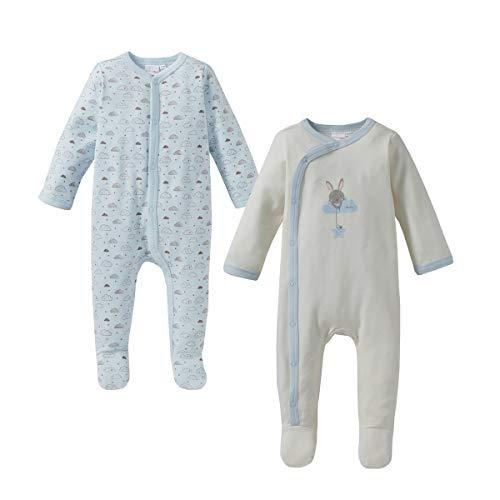 Bornino Bornino Basics Schlafoverall (2er-Pack) - Einteiler für die Nacht - Nachtwäsche für Babys - Schlaf-Strampler mit Füßchen & Druckknopfleiste