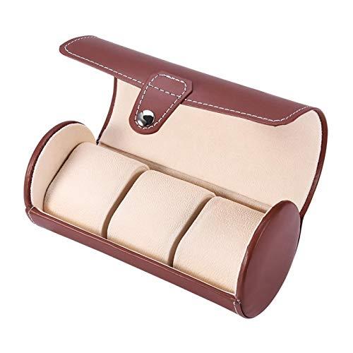 Caja de reloj, organizador de caja de reloj, cuero sintético exterior, caja de regalo de reloj de 3 ranuras, con almohadas y cierre de botón, almohadas de reloj acolchadas suaves, rollo de(marrón)