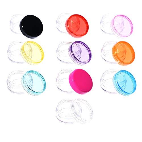 Récipient Cosmétique avec Capuchon à Vis Coloré Pot Vide en Plastique Cosmetic Container 10 PCS et 50 PCS (10 PCS)